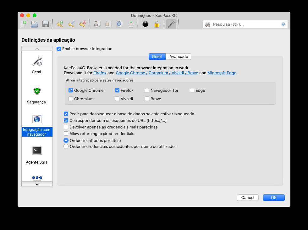 integração com o navegador keepassxc